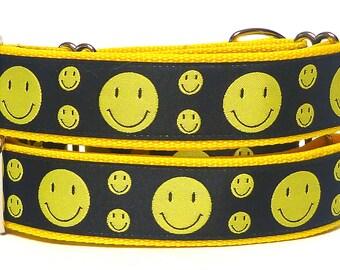martingale, dog collar, HAPPY, yellow, smiley face, Safety Collar, Greyhound Collar, Sighthound Collar, Adjustable, Training Collar