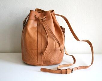 Tooled Leather Bucket Bag