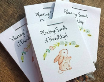 Bunny Rabbit Personalized MINI Baby Shower or 1st Birthday Party Favors Flower Seeds Packet Favors Wildflower Seed Shabby Chic Rustic Favors