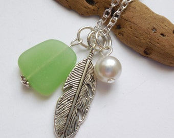 Spring Green Sea Glass Necklace, Beach Glass Necklace, Sea Glass Jewelry, Beach Glass Jewelery, Feather Charm Necklace, Free Shipping in US