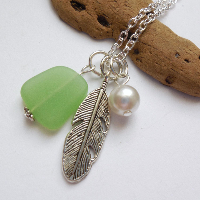 Spring Green Sea Glass Necklace Beach Glass Necklace Sea