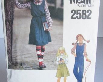Vogue Children Vintage Pattern 2582 Girls' Pullover Jumper Flared Skirt Jumpsuit Size 7