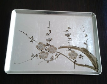 Vintage Japanese Serving Tray, Silver Leaf Serving Tray, Cherry Blossoms