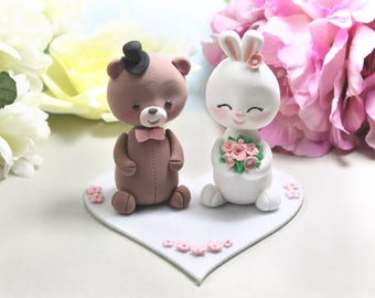 Teddy Bear and Bunny Rabbit wedding cake toppers + felt base/stand - funny unique bride groom figurines wedding gift brown pink nicknames