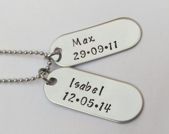 Mens dog tags - personalised mens jewellery - gift for dad - gift for him - mens dog tag necklace - gift for husband - gifts for men, unique