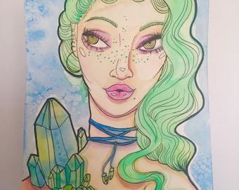 Crystalline Mystic Original Watercolor Illustration