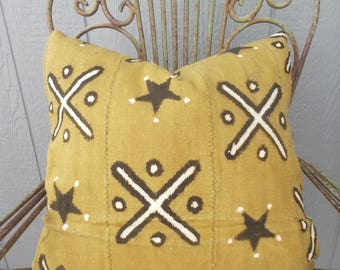 Mustard  Yellow African mudcloth white exes dark brown stars cloth pillow cover