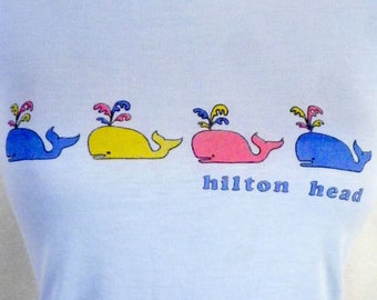 vtg 80s buttery soft Paper Thin Hilton Head T-Shirt colorful whales Indie XS