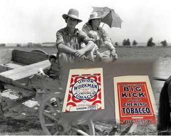 Never Used!  Vintage 1940s  Paper Tobacco Bags, Union Workman Tobacco and Big Kick Plain Chewing Tobacco