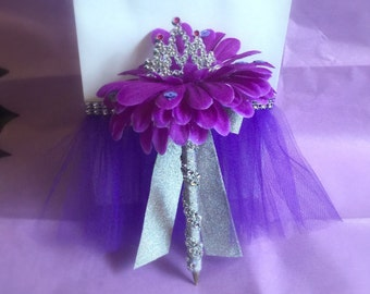 Sofia the first inspired flower pen with mini tiara