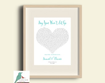 Song lyrics heart print - heart shape Christmas Gift / Wedding / Anniversary / Girlfriend / Fiancee / Valentines / Engagement DIGITAL IMAGE