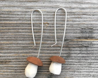 Little porcini earrings with walnut brown caps made from dogberry wood