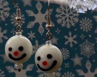 Lampwork Snowman Christmas Earrings.