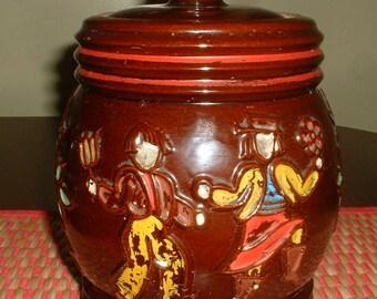 Vintage Red Wing Dancing Peasants Stoneware Cookie Jar