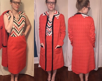 Vintage 1960's Nardis of Dallas Dress and Coat duo, suit 60's Mad Men