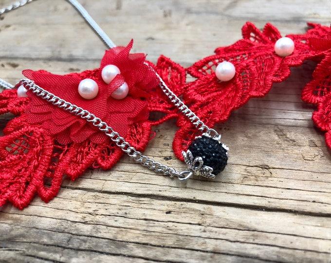 SAVANNAH: sparkly black rondelle bead choker