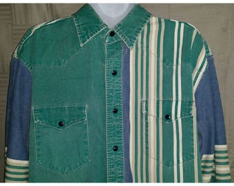 Vintage 80's Wrangler Pearl Snap Western Shirt Men's L Large X-long Tails Colorblock Stripe Cowboy Beard Hipster Rockabilly