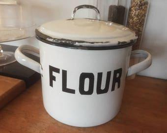 Vintage Enameled Flour Bin, Enamelware Canister, White Enamel Container, vintage Kitchen, Kitchenalia