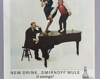 "Lot of 2 1965 Smirnoff Vodka - Buddy Hackett and ""New Drink...Smirnoff Mule"" - Vodka and 7-Up"