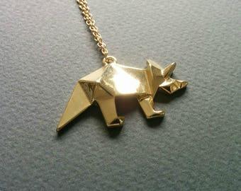 Origami Rhino. Necklace.