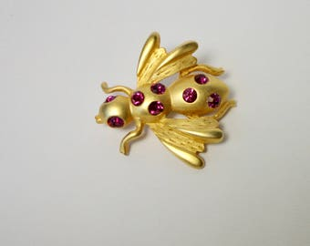 Gold Tone Metal with Pink Rhinestone Insect Brooch/Pin. Bee Brooch. Free Sh.
