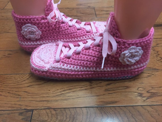 8e3e74306e06ac ... pink sneakers pink flower house slippers shoe 8 tennis flower pink 6  slippers pink Crocheted Womens ...