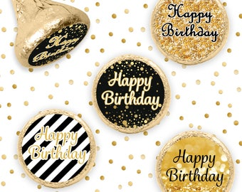 Black and Gold Happy Birthday Stickers for Hershey Kisses Favors, Gold Glitter Birthday Decorations - Gold Party Supplies - Set of 324