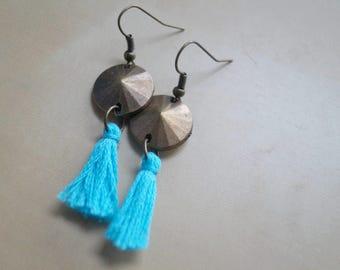 Bronze earrings with tassel