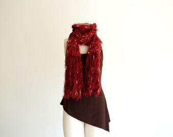 Red Scarf Gift for Wife Cranberry Scarf Knit Red Accessories Scarf with Fringe and White, Black, Brown Speckles
