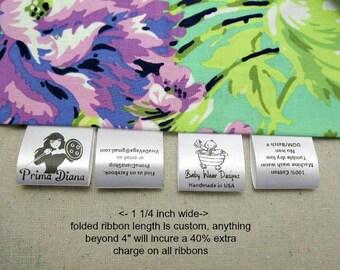 1000 Folded Custom Satin Labels - Folded ~