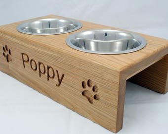 Medium Handmade Personalised raised Dog Feeder - 16cm bowl  - Solid Oak