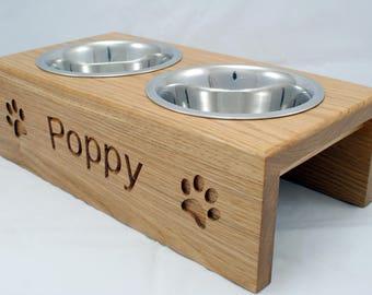 Medium Handmade Personalised raised Dog Feeder - 16cm bowl  - Solid Oak