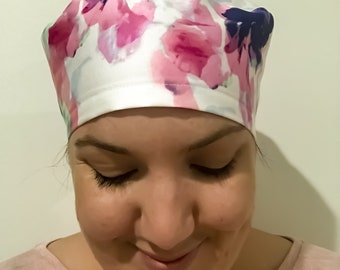 Cool Watercolours Nurse Doctor Surgical Theatre Vet Dentist Scrub Hat Cap / Chef Hat with Elastic Back
