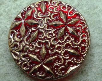 Czech Glass Button 27mm - hand painted - red, gold (B27323)