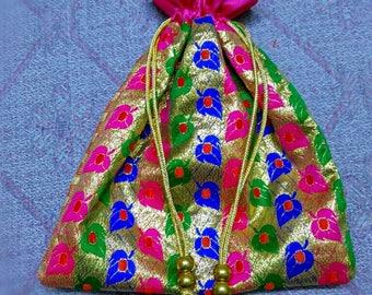 """Favor Bag - PACK OF 3 & PACK of 6- 8"""" x 9"""" Multi-color Indian Zari Bag ~ Handmade Fabric Bag ~ Gift Bag ~ Potli Bag ~ Treat Bag."""