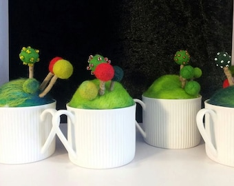 Topiary in a teacup felted pincushion