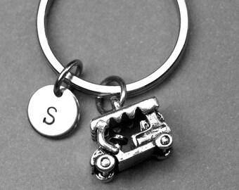 Golf cart keychain, golf cart charm, initial keychain, personalized, monogram, letter keychain, hand stamped initial, best friend keychain