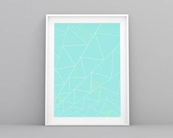 Laminas Nordicas, Mint Deco, Nordic Print, Minimal Print, Mint Print, Lámina decorativa, Cuadros Abstractos, Geometric Print, Triangle Print