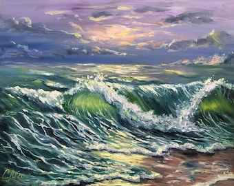 Sea painting Ocean painting pallette knife painting canvas Original oil painting Seascape wall art Green painting Gift women Mediterranean