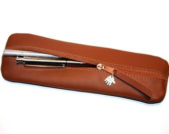 Pencil case / Pen bag / Pouch leather in brown for MEN  UNIQUE