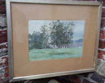 Vintage Watercolour of Trees Copse