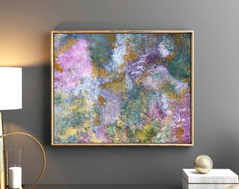 Original Abstract Painting Modern Wall Art 11 x 14 Canvas Home Decor Pink Green Gold Contemporary Fine Art