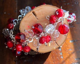 Red and Crystal beaded cluster bracelet