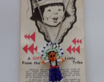 Vintage childs tourist beaded indian child necklace on card