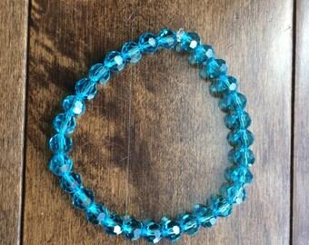 Clear Blue Glass Bracelet