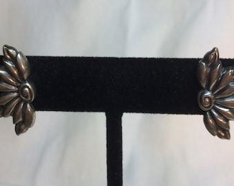 Small Vintage Sterling Flower Earrings