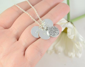 Family Tree Necklace , Personalized Mothers Gift, Grandma Necklace, Initial Stamped Jewelry, Initial Jewelry, Mom Necklace, Initial Necklace