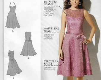 """An """"Amazing Fit Collection"""" Princess Seam, Circle Skirt Dress Pattern with Cup Size Variations: Uncut - Sizes 4-6-8-10-12 ~ Simplicity 1606"""