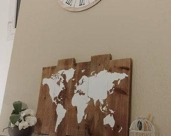 Tableau carte du monde bois, mappemonde palette, carte du monde sur bois, décoration intérieure, planisphère.