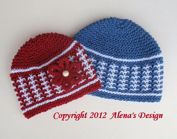 Knitting Pattern 016 - Red/White Hat and Blue/White Hat - Baby Boy Baby Girl Toddler Child Girl Boy Red Beanie Blue Flower